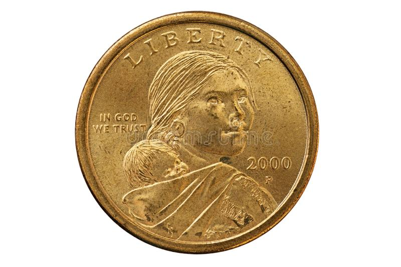 Moneta del dollaro di Sacagawea fotografia stock