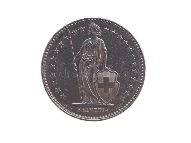 Moneta del franco svizzero (CHF) fotografia stock libera da diritti