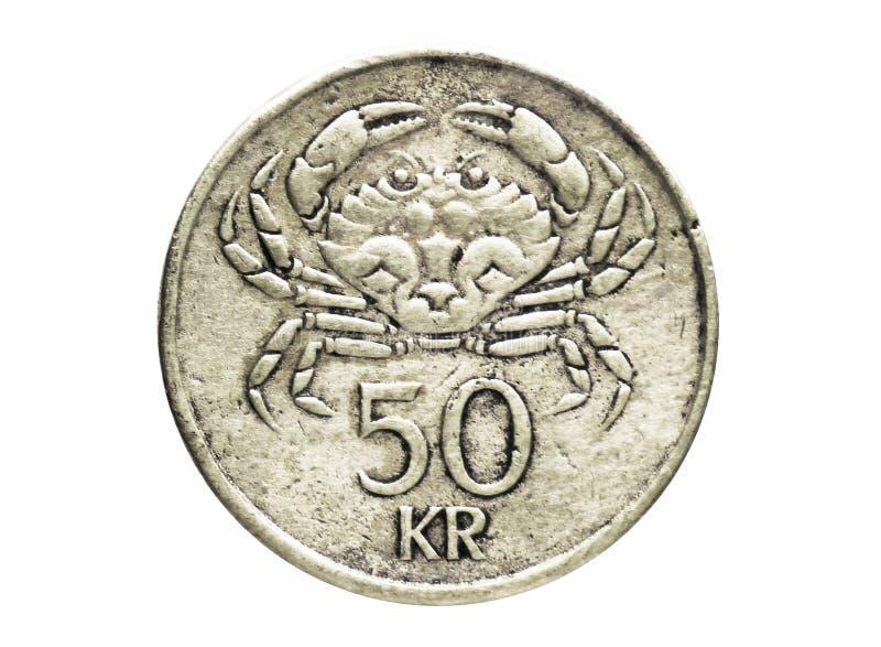 Moneta del granchio di 50 Kronur, la Banca dell'Islanda Complemento, edizione 1987 fotografie stock libere da diritti