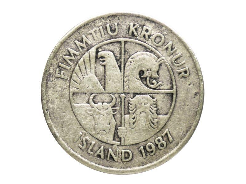 Moneta del granchio di 50 Kronur, la Banca dell'Islanda Complemento, edizione 1987 fotografia stock libera da diritti