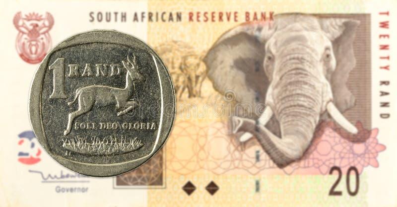 1 moneta del Rand sudafricano contro il Rand sudafricano 20 fotografie stock