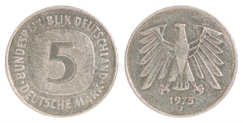 Moneta del segno di Deutsch fotografia stock libera da diritti