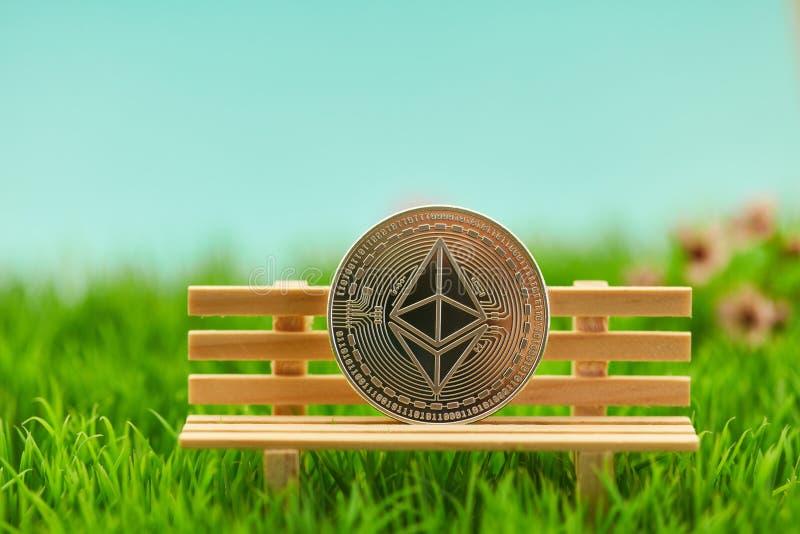 Moneta dell'etere sul banco nel giardino della natura immagini stock