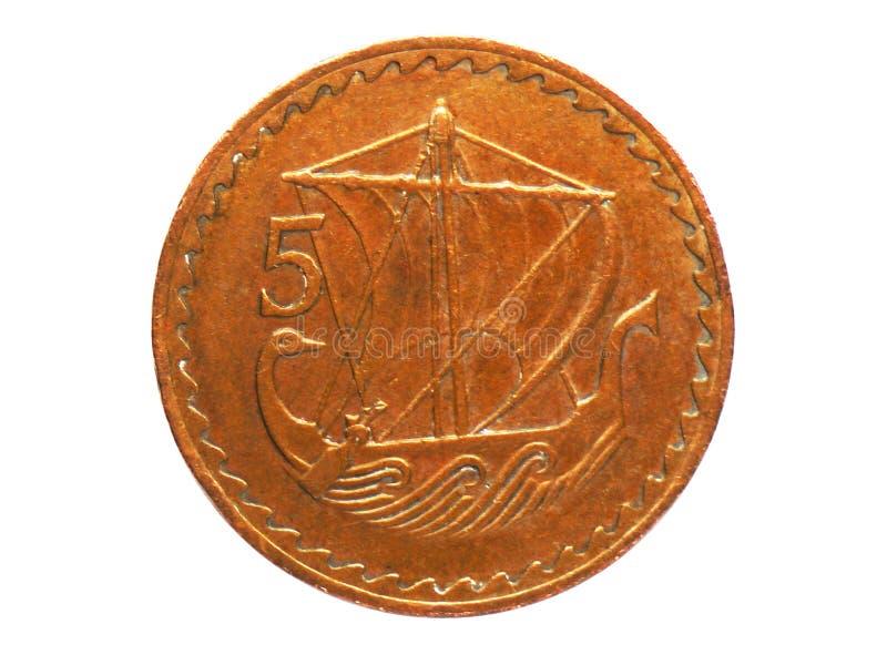 Moneta della nave di navigazione di 5 mil, la Banca del Cipro Complemento, edizione 1963 fotografia stock libera da diritti