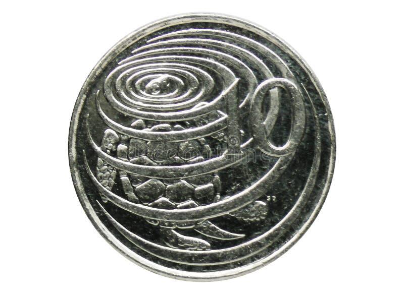 Moneta della tartaruga di Hawksbill di 10 centesimi, la Banca delle Isole Cayman Obverse, 1999 immagine stock