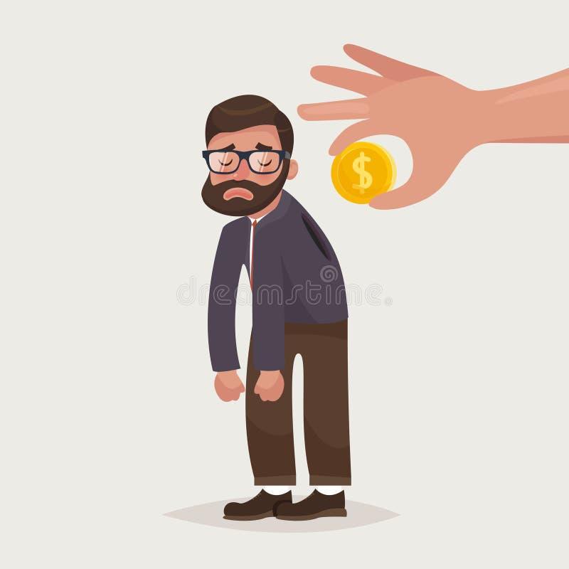 Moneta della tenuta della mano che inserisce nella parte posteriore dell'uomo d'affari con i vetri e la barba illustrazione di stock