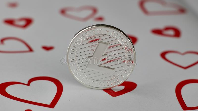 Moneta di amore di Litecoin immagine stock libera da diritti