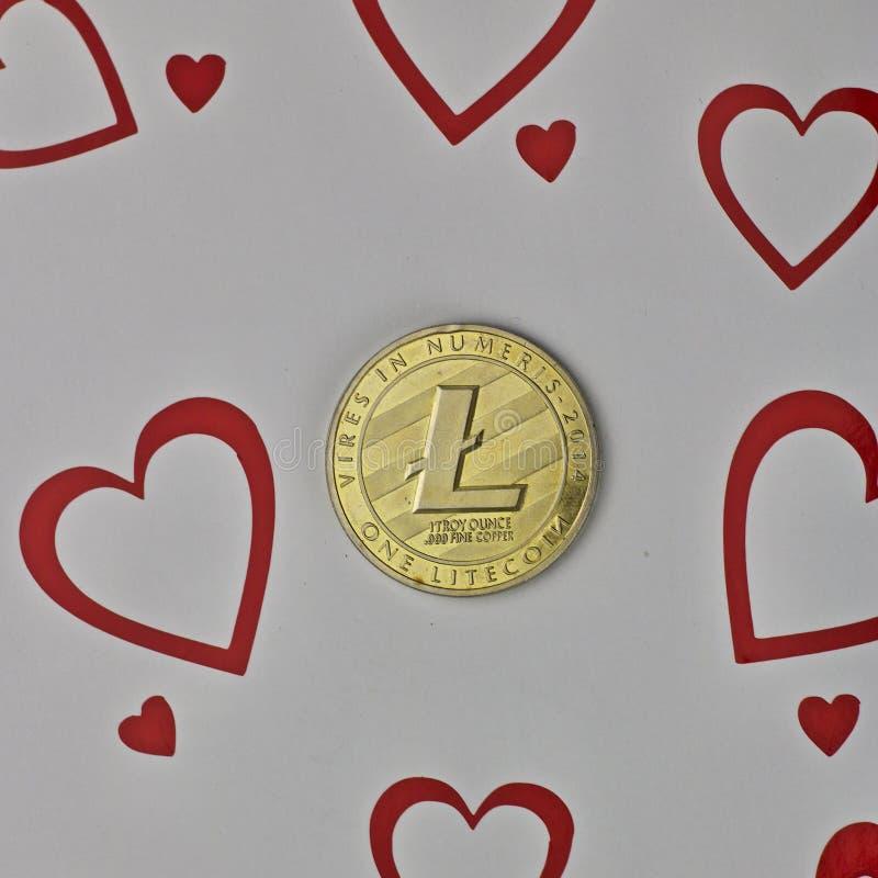 Moneta di amore di Litecoin immagine stock