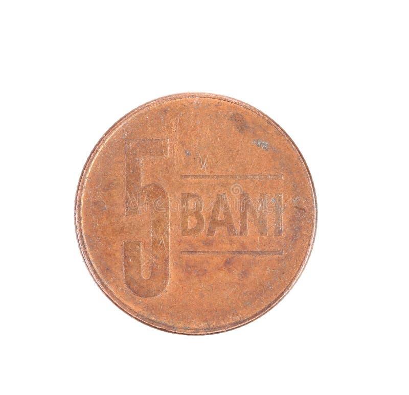 Moneta di bani cinque. immagine stock