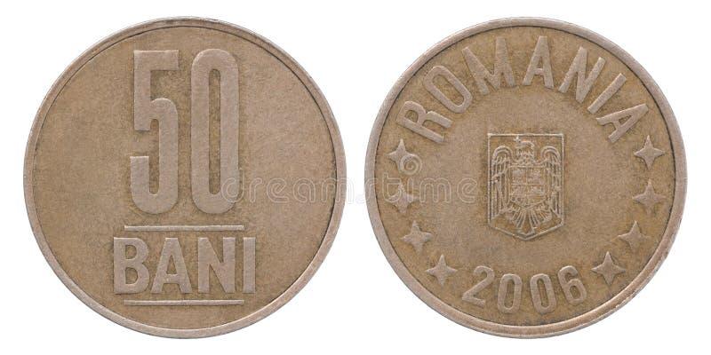 Moneta di bani di 50 Romania fotografia stock libera da diritti