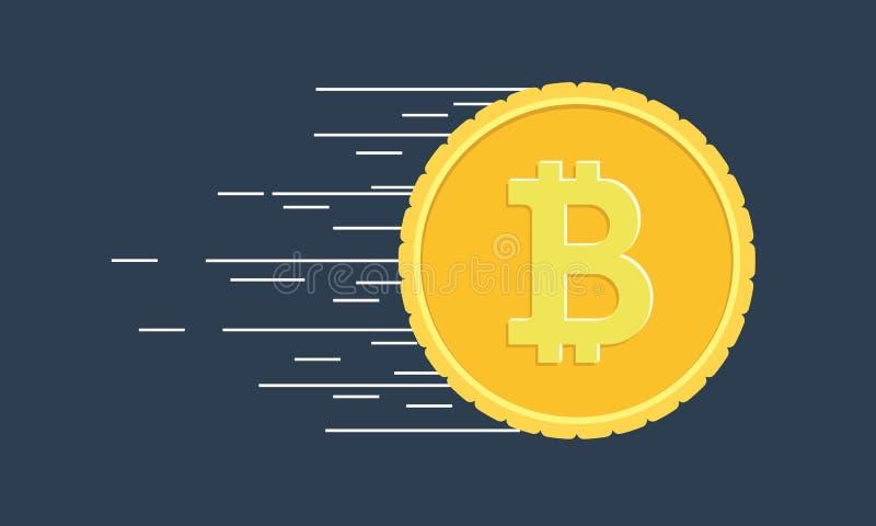 Moneta di Bitcoin con le linee di moto di velocità veloce royalty illustrazione gratis