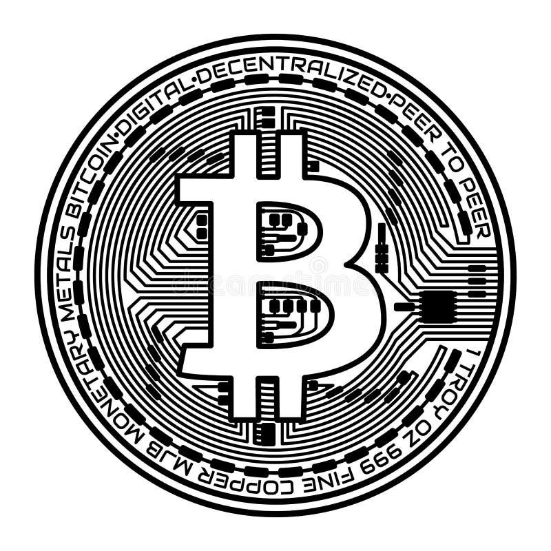 Moneta di Bitcoin su fondo bianco Illustrazione di vettore royalty illustrazione gratis