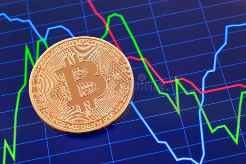 Moneta di Cryptocurrency Bitcoin sopra lo schermo della compressa fotografia stock