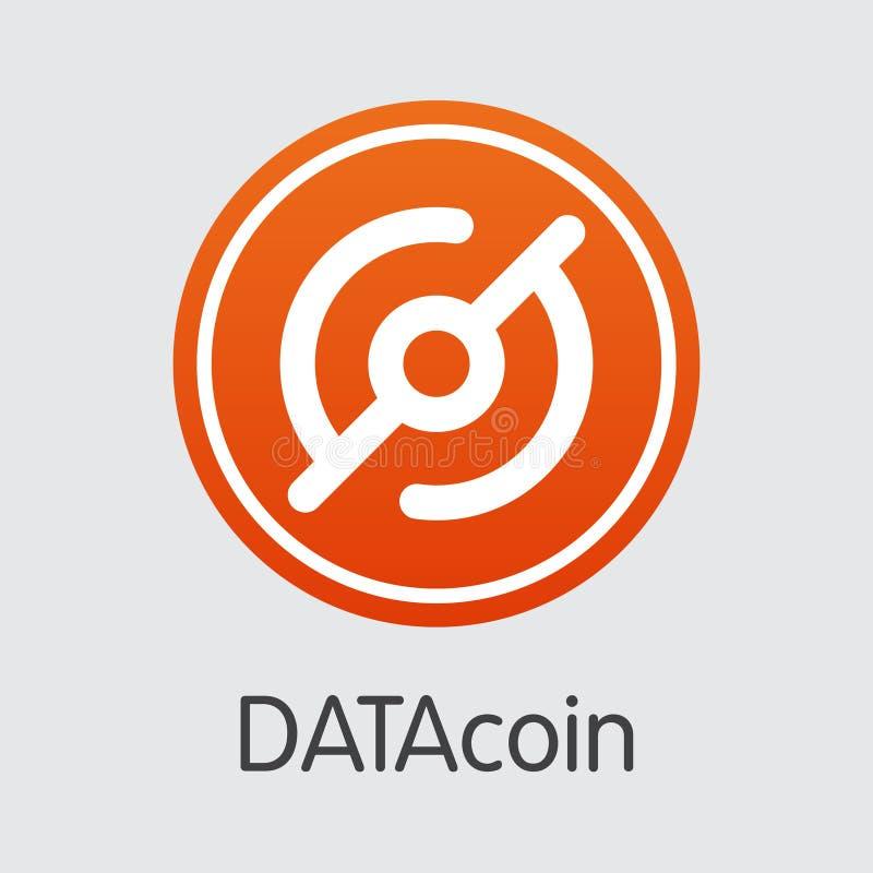 Moneta di Datacoin Cryptocurrency Simbolo di vettore dei DATI illustrazione vettoriale