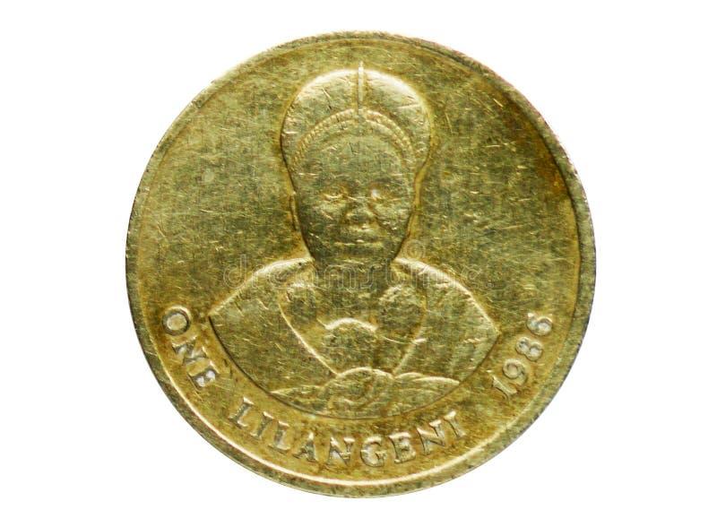 1 moneta di Dzeliwe del lilangeni, la Banca dello Swaziland Complemento, edizione 1986 immagini stock