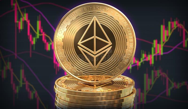Moneta di Ethereum davanti allo scambio di commercio illustrazione di stock