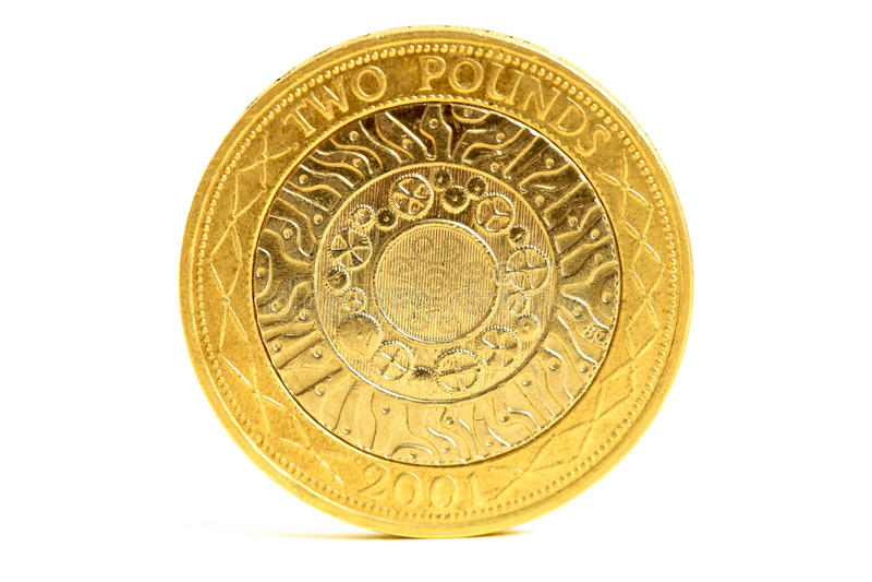 Moneta di libbra dei Britannici due fotografia stock libera da diritti