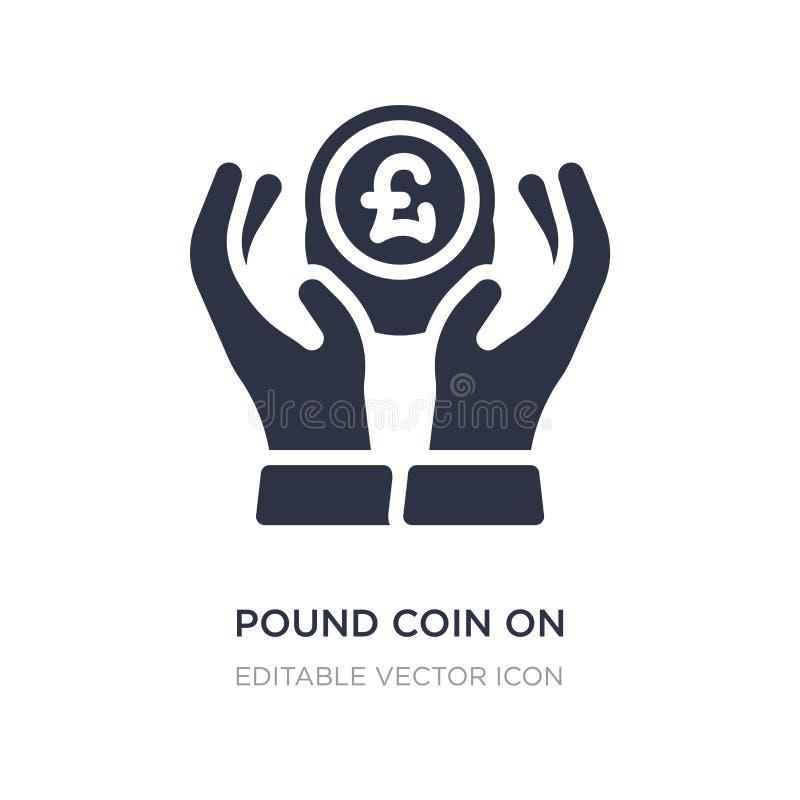 moneta di libbra sull'icona delle mani su fondo bianco Illustrazione semplice dell'elemento dal concetto di affari royalty illustrazione gratis