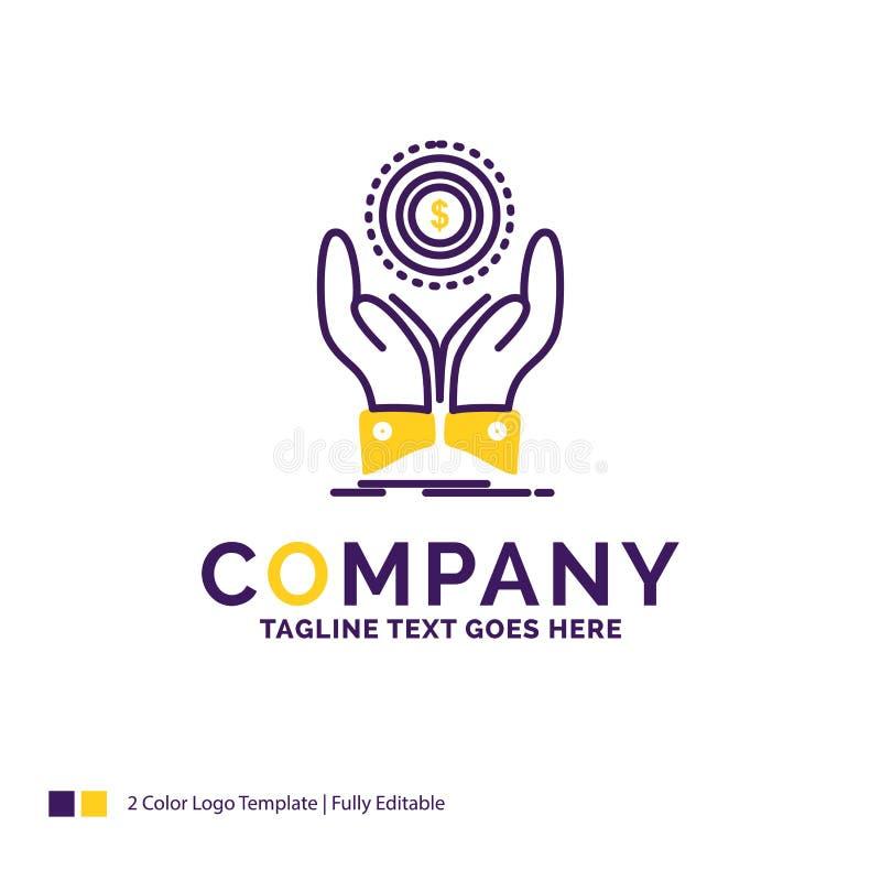 Moneta di Logo Design For di nome di società, mano, pila, dollaro, reddito illustrazione di stock
