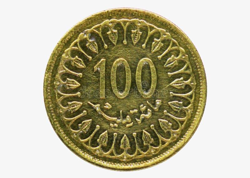 Moneta di 100 Milim, la Banca di Tunissia Complemento, edizione del 1960 immagini stock