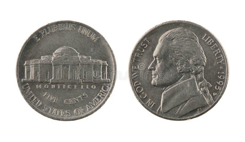 Moneta di nichel degli Stati Uniti uno isolata su bianco
