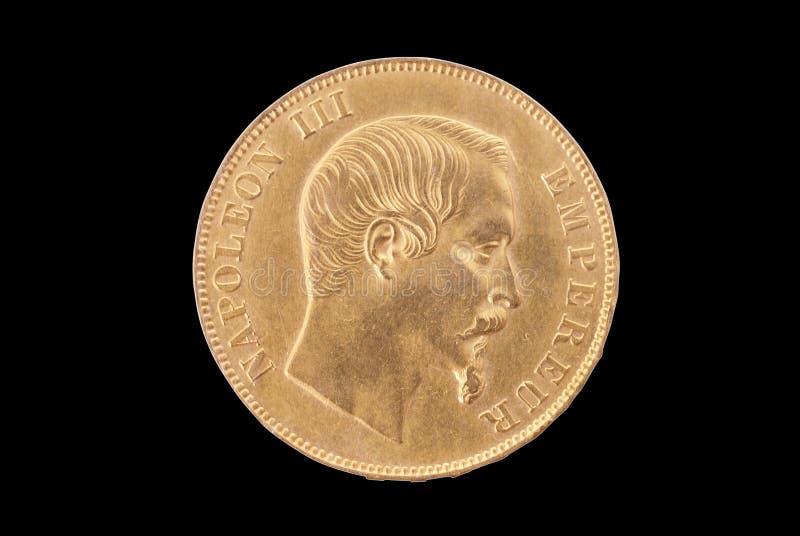 Moneta di oro antica francese. 50 franchi. Complemento immagine stock libera da diritti