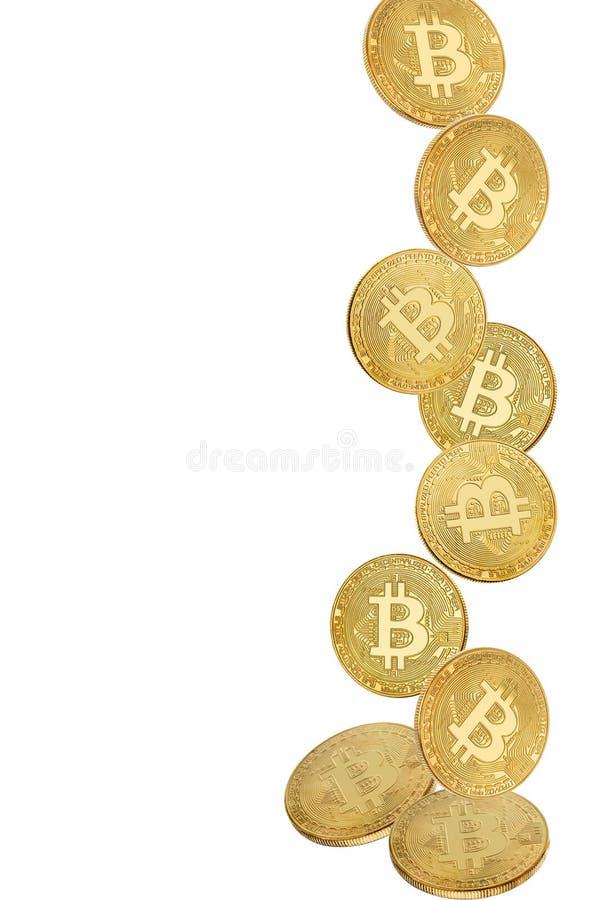 Moneta di oro di bitcoin nella levitazione su fondo bianco fotografia stock libera da diritti