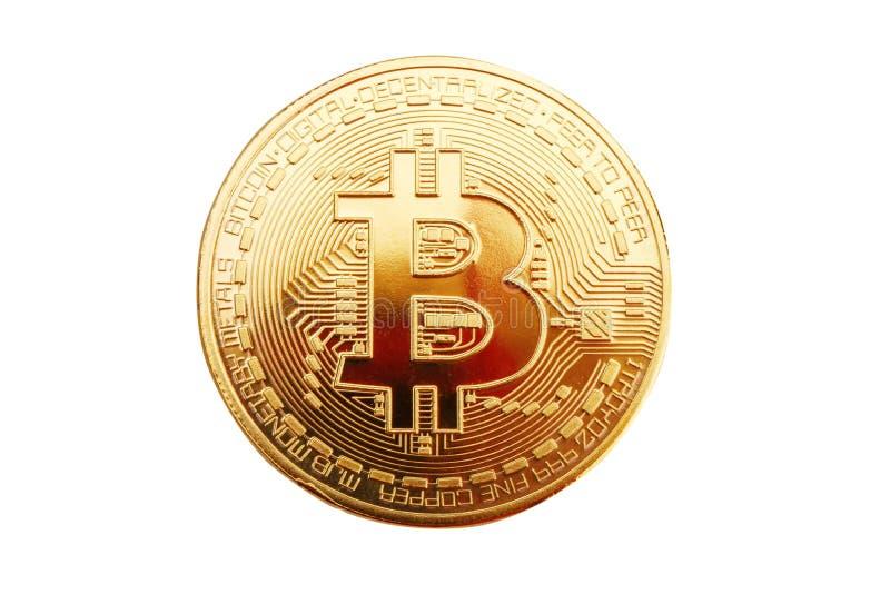 Moneta di oro di bitcoin su un fondo bianco fotografia stock libera da diritti