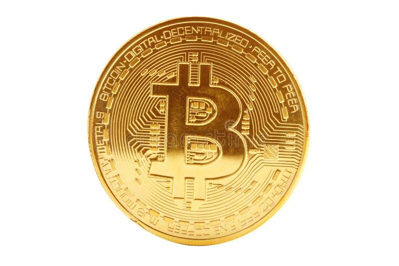 Moneta di oro di bitcoin su un fondo bianco immagini stock