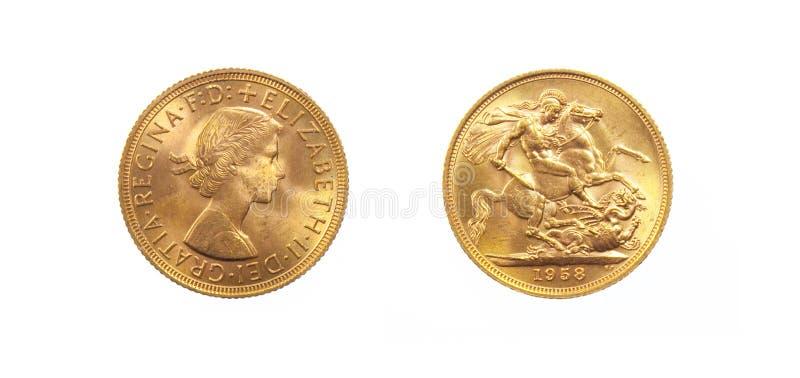 Moneta di oro britannica della regina Elizabeth II immagini stock libere da diritti