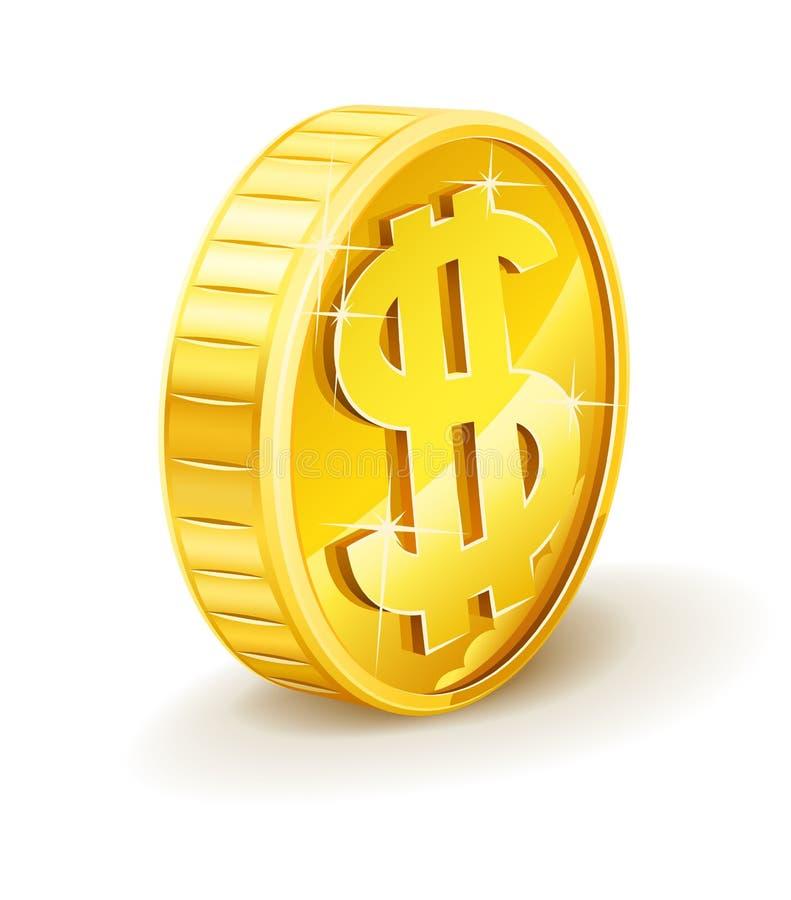 Moneta di oro con il segno del dollaro illustrazione vettoriale