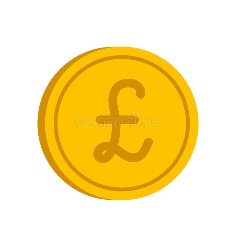 Moneta di oro con l'icona del segno della libbra nello stile piano su un backgrou bianco illustrazione di stock