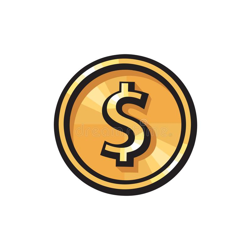 Moneta di oro con l'icona del simbolo di dollaro Simbolo di valuta di USD Concetto dei soldi Illustrazione di vettore su priorit? illustrazione di stock