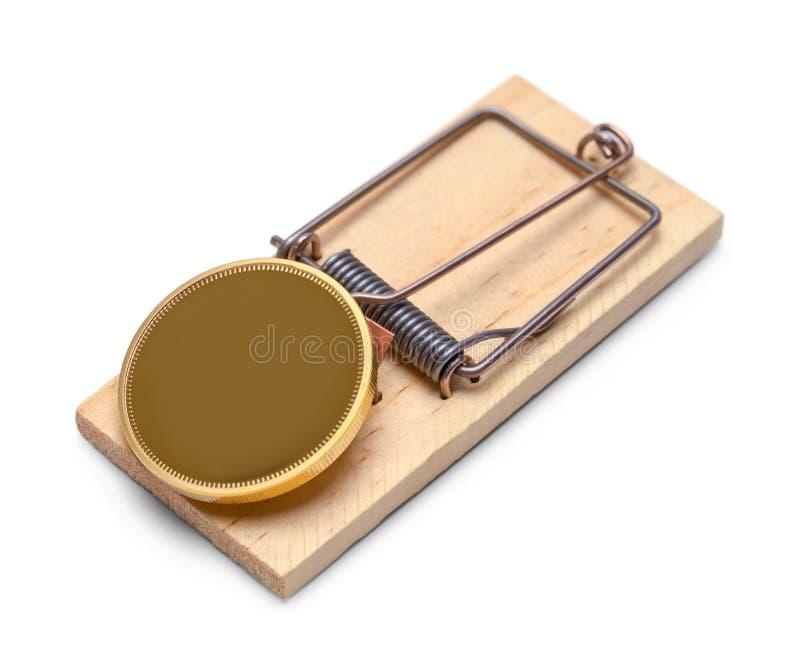 Moneta di oro con la trappola immagine stock libera da diritti