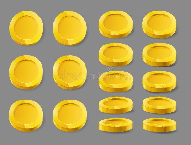 Moneta di oro Moneta di oro isolata su un fondo bianco Moneta di oro, illustrazione di vettore royalty illustrazione gratis