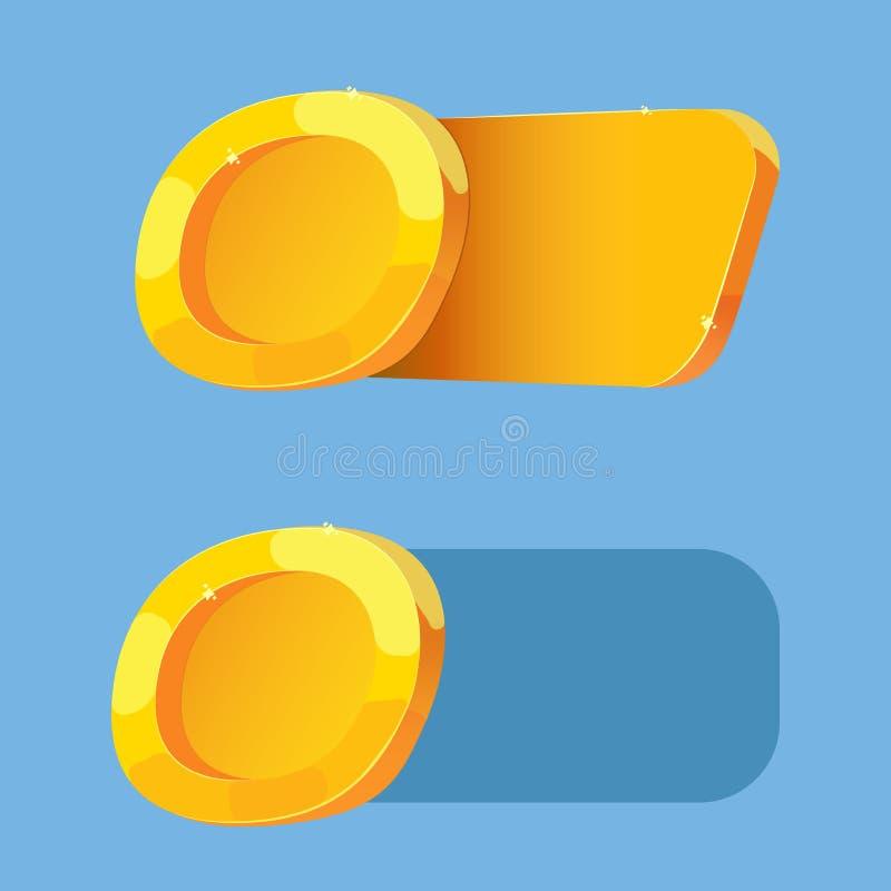 Moneta di oro per l'interfaccia del gioco in un gioco casuale mobile Elemento del GUI Placca dell'oro per la mostra del numero co illustrazione vettoriale