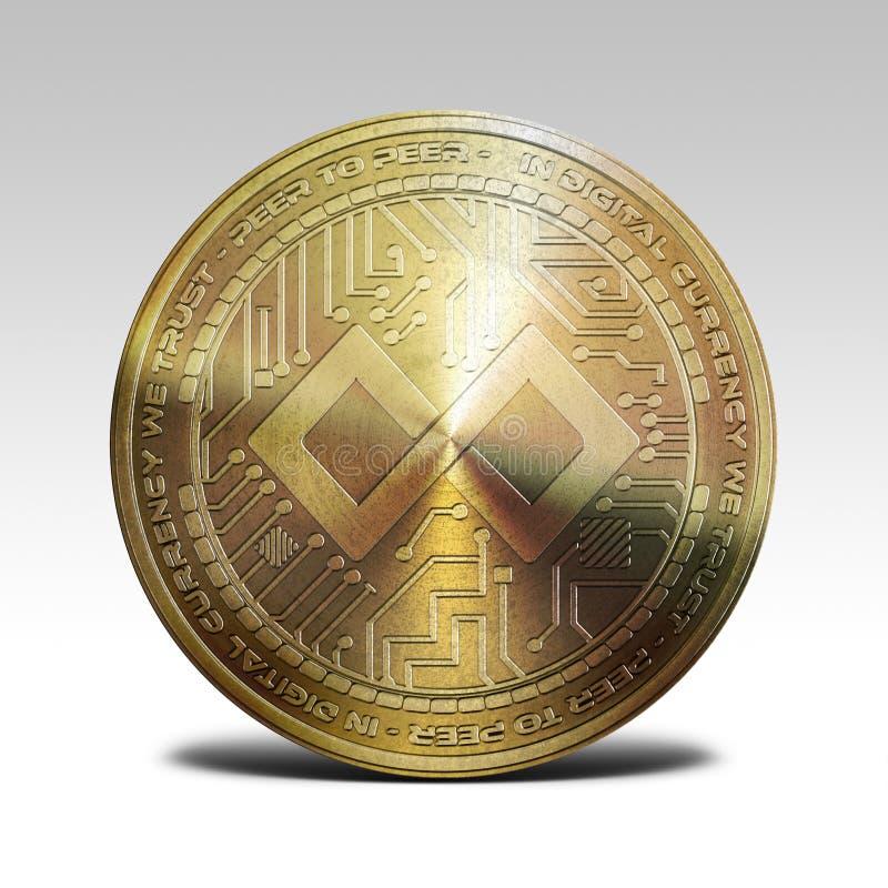 Moneta di paga del tenx dell'oro isolata sulla rappresentazione bianca del fondo 3d illustrazione di stock