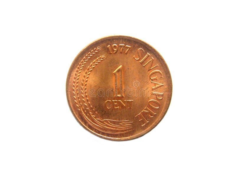 1 moneta di Singapore del centesimo immagini stock
