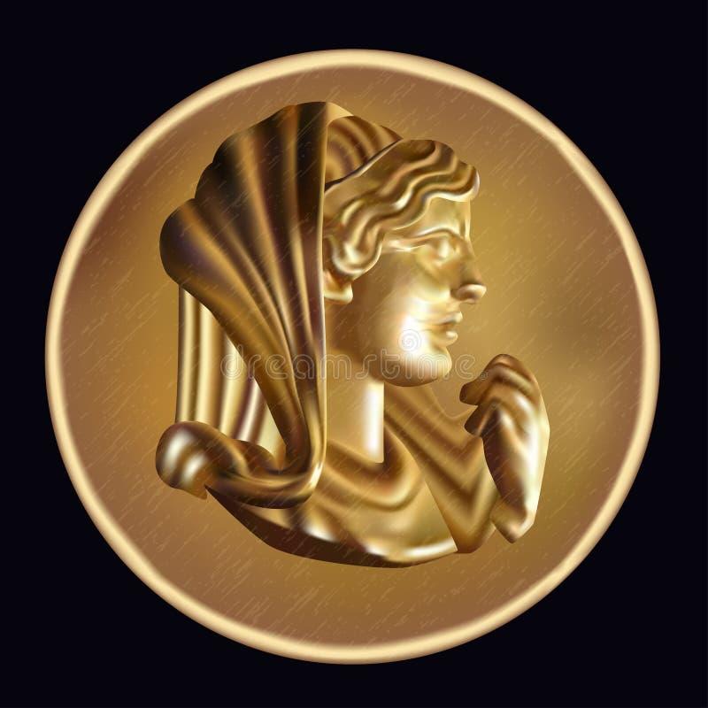 Moneta dorata antica illustrazione vettoriale