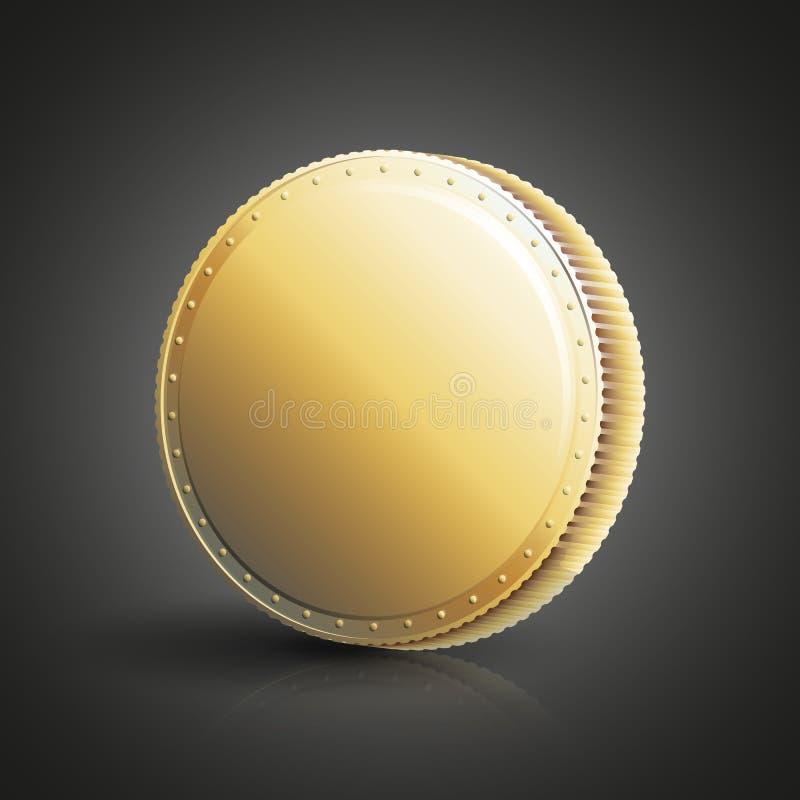 Moneta dorata in bianco illustrazione di stock