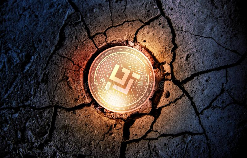 Moneta dorata brillante di cryptocurrency di MOBILEGO sul fondo asciutto del dessert della terra che estrae l'illustrazione della fotografia stock libera da diritti