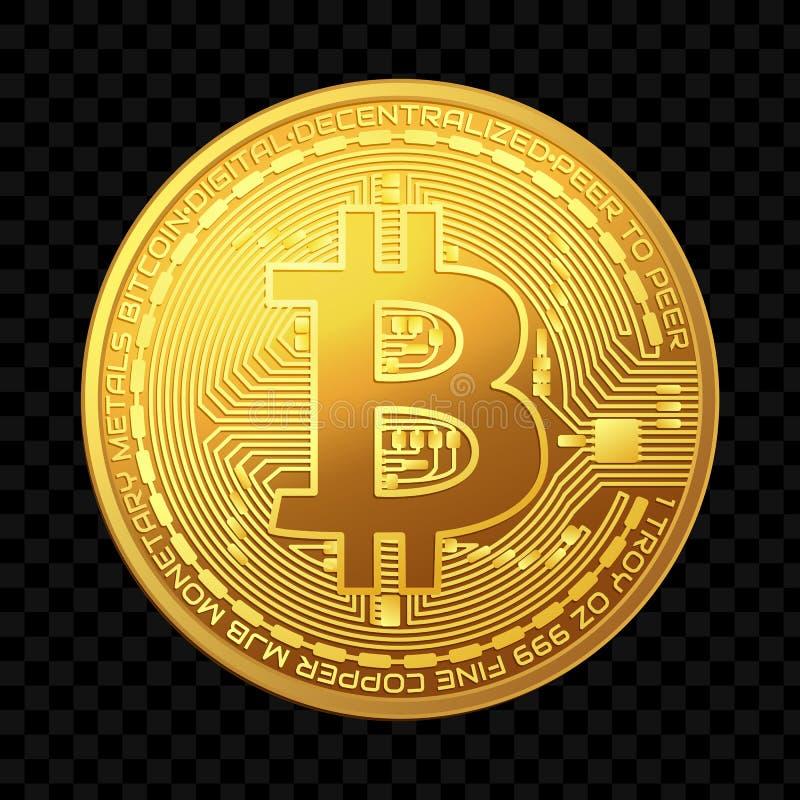 Moneta dorata del bitcoin isolata su fondo scuro Illustrazione di vettore royalty illustrazione gratis