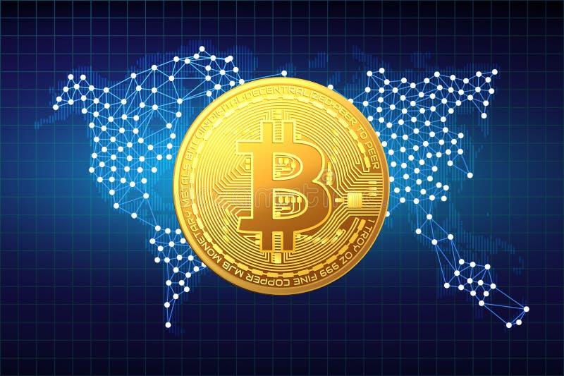 Moneta dorata del bitcoin sui precedenti della mappa Illustrazione di vettore illustrazione vettoriale