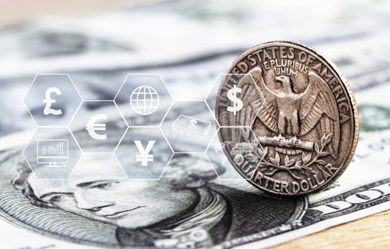 Moneta e banconota del dollaro americano con l'icona virtuale Il concetto del cambio pu? essere commercio mondiale mondiale, fina illustrazione di stock