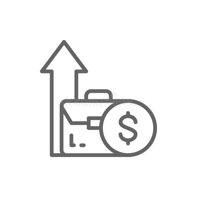 Moneta e freccia crescente dalla borsa, aumento del reddito, linea icona di investimento illustrazione di stock