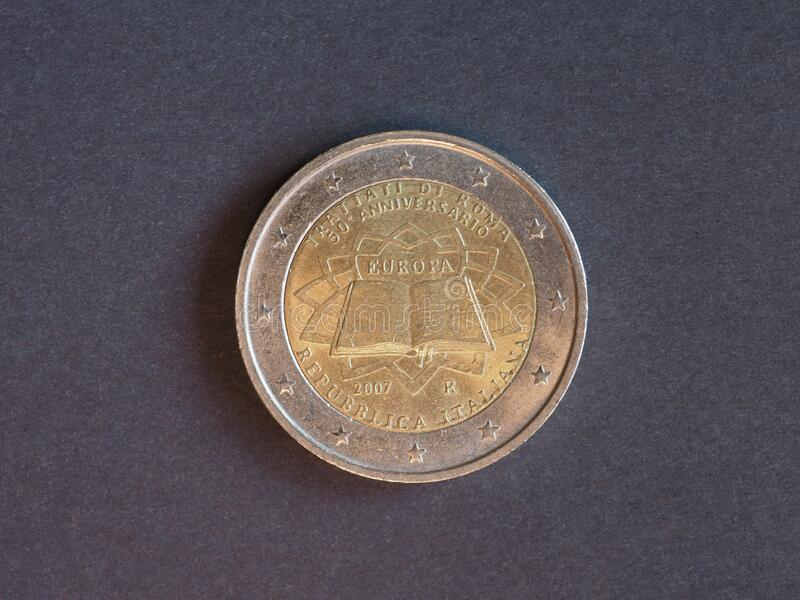 Moneta 2 euro, Włochy, Europa fotografia stock