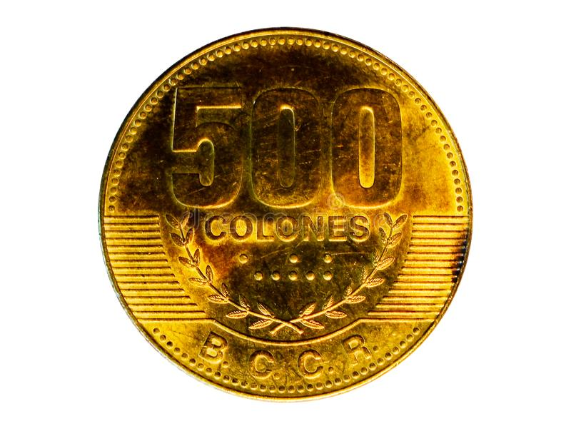 Moneta magnetica di 500 Colones La Banca di Costa Rica Complemento, 2007 immagine stock