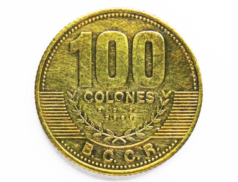Moneta magnetica di 100 Colones, la Banca di Costa Rica Complemento, edizione 2006 fotografia stock libera da diritti