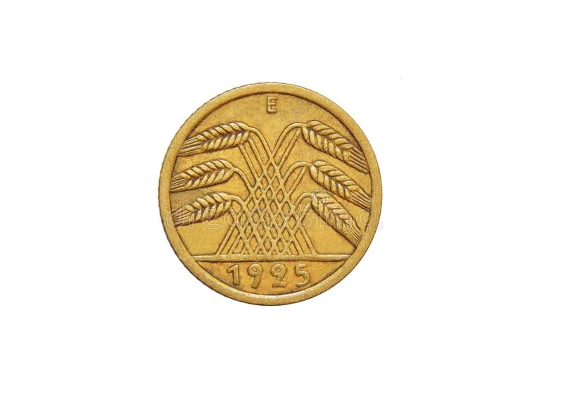Moneta Niemcy 5 Reichspfennig Weimar republika zdjęcia royalty free