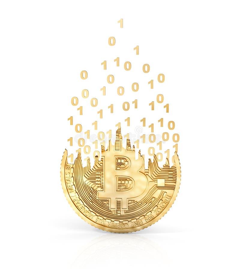 Moneta odizolowywająca na bielu bitcoin kolonel royalty ilustracja